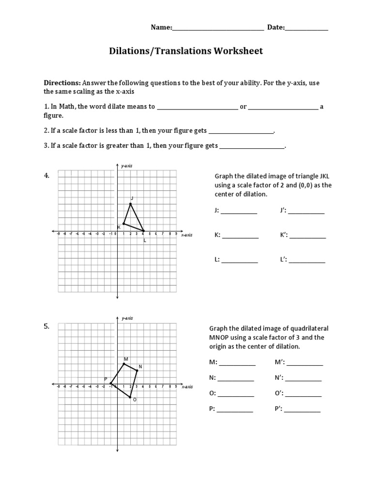 worksheet Dilations Worksheet dilations translations pdf cartesian coordinate system descartes