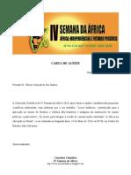 Carta de Aceite do Artigo pela Comissão Científica da IV Semana da África maio 2010