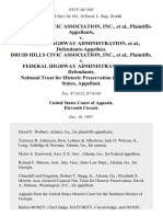 Druid Hills Civic Association, Inc. v. Federal Highway Administration, Druid Hills Civic Association, Inc. v. Federal Highway Administration, National Trust for Historic Preservation in the United States, 833 F.2d 1545, 11th Cir. (1987)