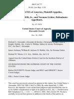 United States v. Dan C. Alexander, Jr., and Norman Grider, 888 F.2d 777, 11th Cir. (1989)