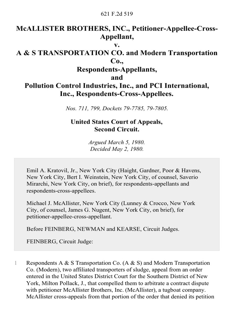 McAllister Brothers, Inc , Petitioner-Appellee-Cross