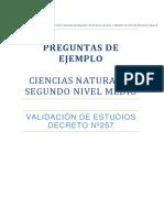 Segundo Nivel Medio Preguntas Para Liberar 2016 Ciencias Naturales Ve257 Nm2
