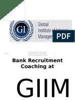 GIIMS-Bank Recruitment Coaching Launch-January 13,2016