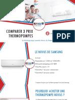 Thermopompe murale Novus de Samsung - comparer 3 prix