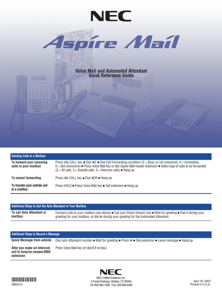 Aspire Voicemail Auto Attendant Quick Guide Voicemail Email