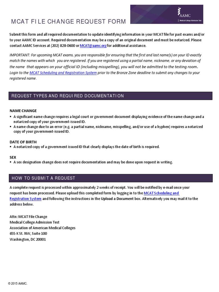 MCAT File Change Request | Medical College Admission Test