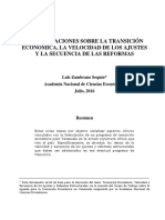 Consideraciones sobre la transición económica, la velocidad de los ajustes y la secuencia de las reforemas