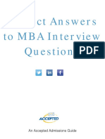 Perfect Mba Interview Answers