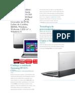 Especificações Tecnica Do NoteBook RV415