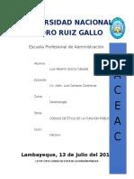 Resumen. Codigo de Etica de La Funcion Pubica Ley Nº 27815