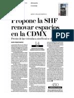 19-07-2016 Propone la SHF renovar espacios en la CDMX