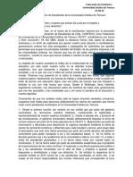 Comunicado Público N°5 FEUCT (Huelga de Hambre)
