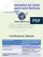 13th International Conference on Envirotech, Cleantech and Greentech (ECG), 25-26 May 2017, Lisbon