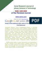 International Research Journal of Multidisciplinary Science & Technology