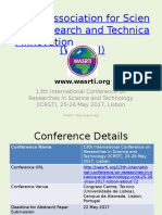 13th International Conference on Researches in Science and Technology (ICRST), 25-26 May 2017, Lisbon