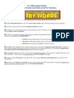 Fry 1000 Instant Words Links Info and Website