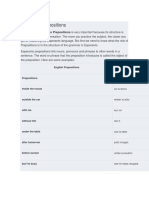 Esperanto Prepositions