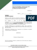 Carta de Postulacion para pasantías