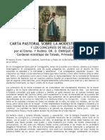CARTA PASTORAL SOBRE LA MODESTIA CRISTIANA Y LOS CONCURSOS DE BELLEZA. CARDENAL PLA Y DENIEL