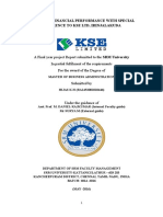 A STUDY ON FINANCIAL PERFORMANCE WITH SPECIAL REFERENCE TO KSE LTD, IRINJALAKUDA
