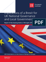 Implications of a Brexit for UK National Governance Local Government REPORT