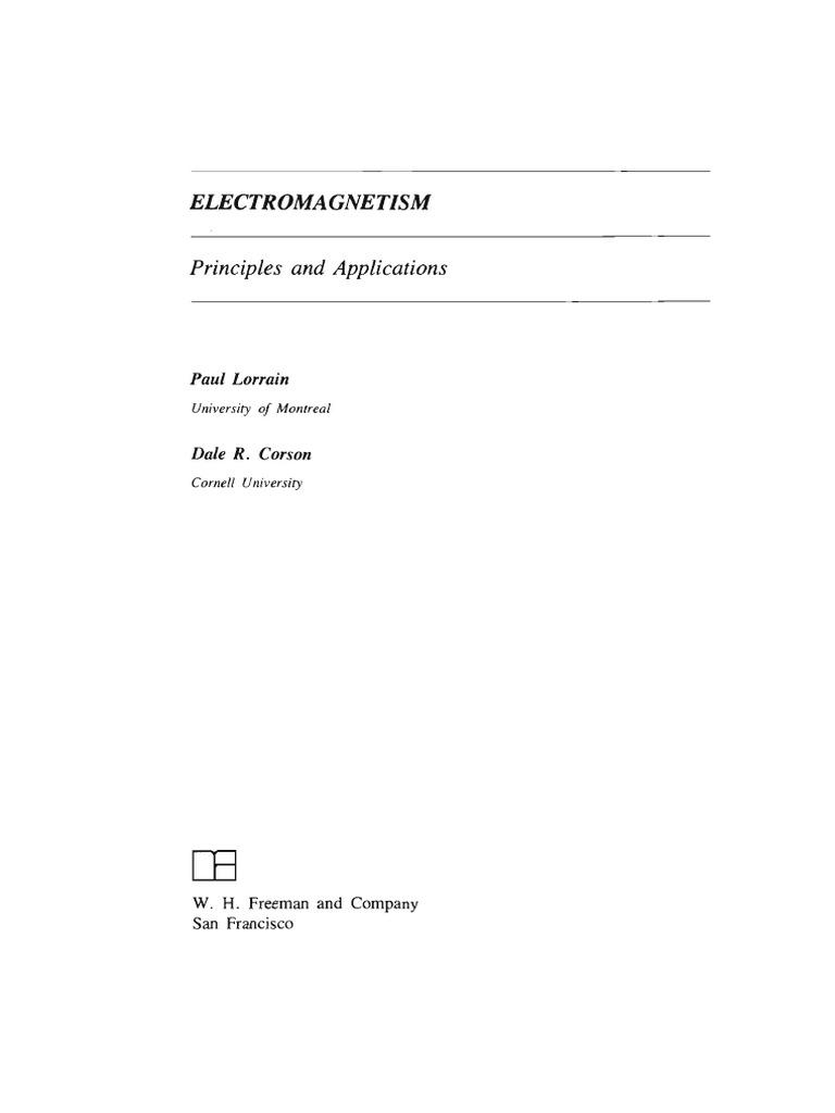 Electromagnetism Principles and Applications - Lorraine & Corson |  Euclidean Vector | Flux
