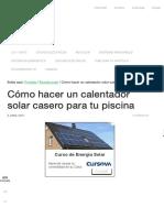 Calentador Solar Casero Para Piscina