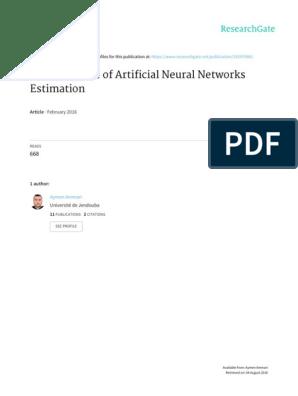 Article ANN Estimation | Artificial Neural Network | Test Set