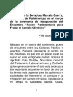 """04-08-16 Palabras de la Senadora Marcela Guerra, presidenta de ParlAmericas en el marco de la ceremonia de inauguración del encuentro """"Acción Parlamentaria para frenar el cambio climático"""""""