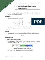 2, Introduciendo Matrices en MathScript