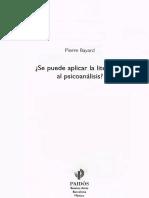 Bayard Pierre - Se Puede Aplicar La Literatura Al Psicoanalisis
