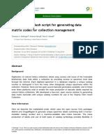 Makelabels - Bash Script for Generating Data Matrix Codes for Collection Management - Delliger Et Al. (2016)