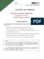 Examen de Admision EMNO/Admision to EMNO