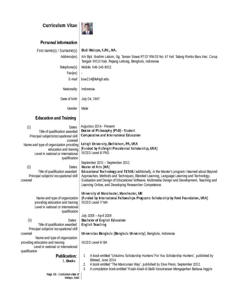 curriculum vitae editan doctor of philosophy indonesian language
