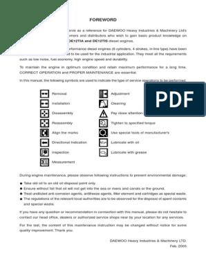 Doosan+engine+manual+(DE12T_+DE12TI_+DE12TIA+and+DE12TIS) | Motor Oil |  TurbochargerScribd