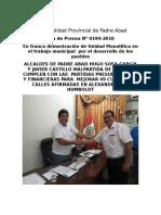 Nota de Prensa 2016 - 194
