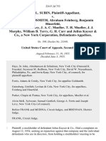 David L. Subin v. A. Philip Goldsmith, Abraham Feinberg, Benjamin Hinerfeld, F. Stafford Cleary, J. A. C. Mueller, T. H. Mueller, J. J. Murphy, William B. Terry, G. H. Carr and Julius Kayser & Co., a New York Corporation, 224 F.2d 753, 2d Cir. (1955)