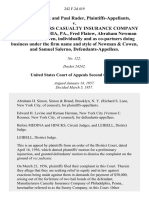 Frieda Rader and Paul Rader v. Manufacturers Casualty Insurance Company of Philadelphia, Pa., Fred Flatow, Abraham Newman and Herman Cowen, Individually and as Co-Partners Doing Business Under the Firm Name and Style of Newman & Cowen, and Samuel Salerno, 242 F.2d 419, 2d Cir. (1957)