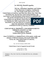 Alexander Meyer v. Indian Hill Farm, Inc., and Nathan Krupnick, Pacific Fire Insurance Company, Continental Casualty Company, the People of the State of New York, United States of America, and John Doe, Henry Doe, Mary Roe and Helen Poe, the Last Four Names Being Fictitious, the True Names of Said Being Unknown to and the Parties Intended Being Any Persons, Firms or Corporations Not Specifically Named Therein in Possession of or Claiming Any Right to Possession of the Premises Herein Described, or Any Part Thereof, as Tenants, Occupants or Otherwise United States of America, Libellant v. Certain Real Property and Improvements Thereon, Known as the Indian Hill Farm. Nathan Krupnick v. Jean Clemens, as Administratrix of the Goods, Credits and Chattels of Michael Clemens, Deceased, Indian Hill Farm, Inc. And United States of America, 258 F.2d 287, 2d Cir. (1958)