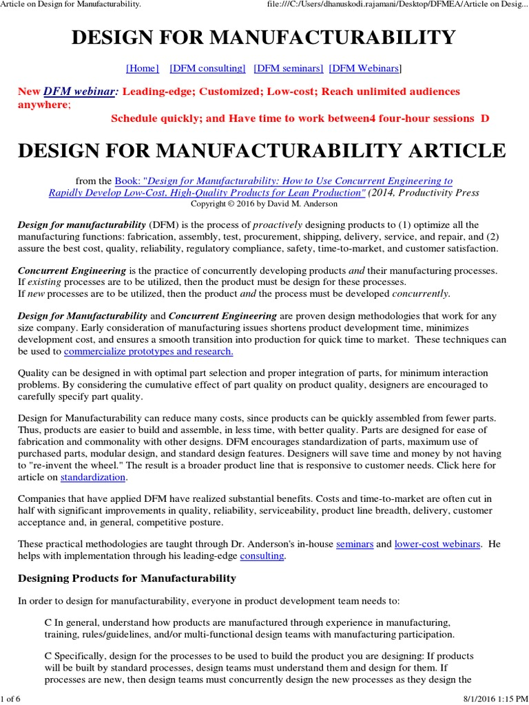 Design For Manufacturability Science And Technology Production And Manufacturing