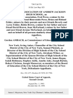 The Parent Association of Andrew Jackson High School, an Unincorporated Association, Fred Perez, a Minor by His Father and Next Friend Bienvenido Perez, Brian and Roland Felder, Minors by Their Parents and Next Friends Beverly and Leroy Felder, Robin Brown, a Minor by Her Father and Next Friend David Brown, Joan McFarland a Minor by Her Father and Next Friend Jerome McFarland on Behalf of Themselves and on Behalf of All Persons Similarly Situated v. Gordon Ambach, as Commissioner of Education of the States of New York, Irving Anker, Chancellor of the City School District of the City of New York, Samuel Plotnick, as Director of the Division of High Schools of the City School District of the City of New York, Abraham Wilner, as Superintendent of the Queens Division of High Schools of the City School District of the City of New York, James Regan, Isaiah Robinson, Stephen Aiello, Amelia Ashe, Joseph Barkin, Robert Christen, Joseph Monserrat, as Members of the Board of Education of the City