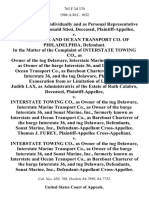 Barbara Stissi, Individually and as Personal Representative of the Estate of Ronald Stissi, Deceased v. Interstate and Ocean Transport Co. Of Philadelphia, in the Matter of the Complaint of Interstate Towing Co., as Owner of the Tug Delaware, Interstate Marine Transport Co., as Owner of the Barge Interstate 36, and Interstate and Ocean Transport Co., as Bareboat Charterer of the Barge Interstate 36, and the Tug Delaware, for Exoneration From or Limitation of Liability. Judith Lax, as Administratrix of the Estate of Ruth Calabro, Deceased v. Interstate Towing Co., as Owner of the Tug Delaware, Interstate Marine Transport Co., as Owner of the Barge Interstate 36, and Sonat Marine, Inc., Formerly Known as Interstate and Ocean Transport Co., as Bareboat Charterer of the Barge Interstate 36, and Tug Delaware, Sonat Marine, Inc., Cross-Appellee. Thomas J. Furey, Cross-Appellant v. Interstate Towing Co., as Owner of the Tug Delaware, Interstate Marine Transport Co., as Owner of the Barge Inte