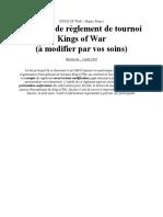 Exemple de Reglement de Tournoi KoW Type, A Modifier Par Vos Soins