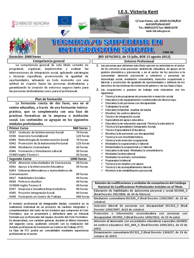 Técnico Superior En Integración Social Pdf
