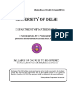 DU Undergraduate Math Hons Syllabus as per CBCS