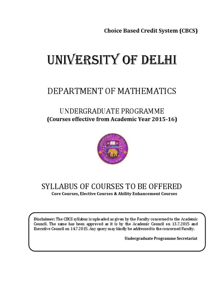 DU Undergraduate Math Hons Syllabus as per CBCS | Partial