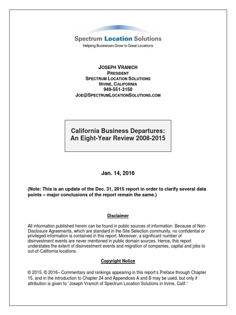 Businesses Leave California California Employment