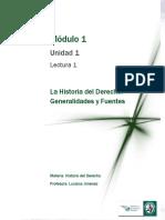 Lectura 1 - La Historia Del Derecho - Generalidades y Fuentes
