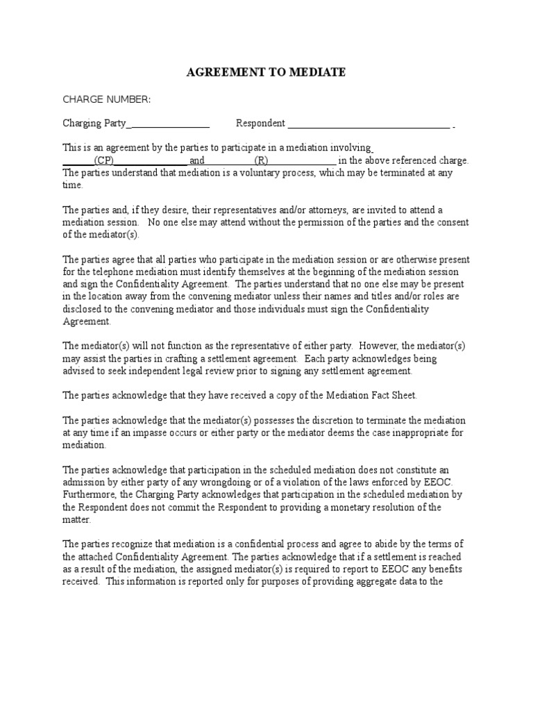 Teleconference Agreement To Mediate Mediation Settlement