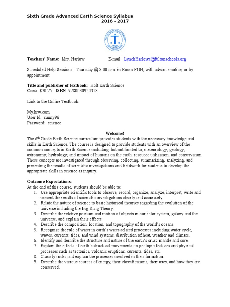 6th advanced science syllabus | Earth | Science